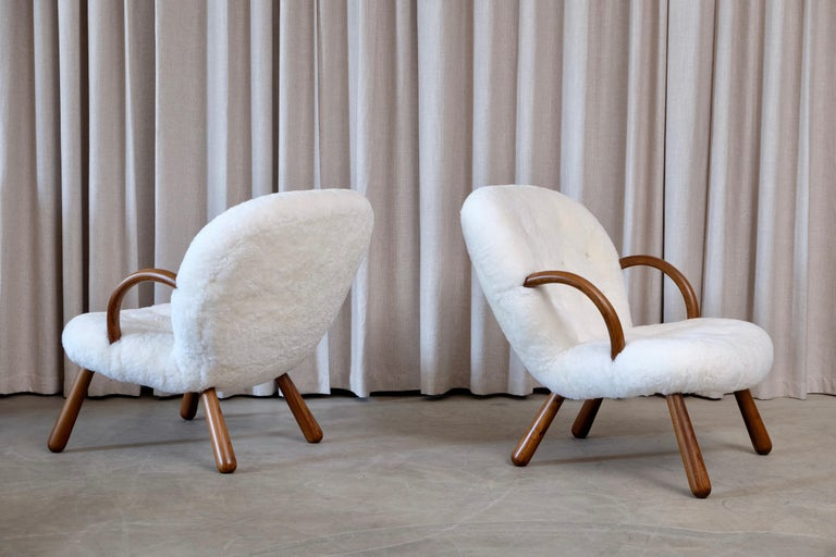 Philip Arctander Clam Chairs by Nordisk Stål & Møbel Central in Denmark, 1940s For Sale 5