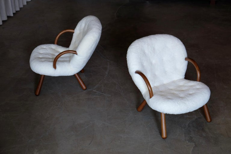 Philip Arctander Clam Chairs by Nordisk Stål & Møbel Central in Denmark, 1940s For Sale 6