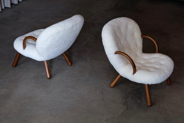 Philip Arctander Clam Chairs by Nordisk Stål & Møbel Central in Denmark, 1940s For Sale 8