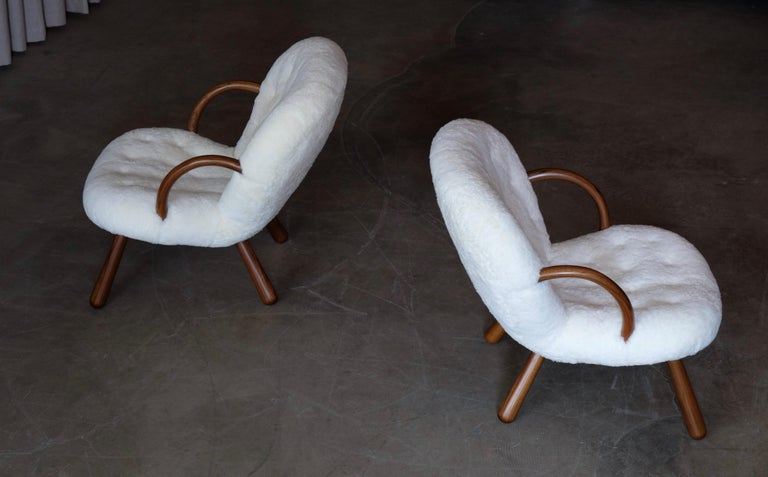 Philip Arctander clam chairs by Nordisk Stål & Møbel Central in Denmark, 1940s. Completely restored. Excellent condition. Global front door shipping, delivery within 7-14 days: €699.