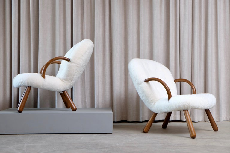 Scandinavian Modern Philip Arctander Clam Chairs by Nordisk Stål & Møbel Central in Denmark, 1940s For Sale