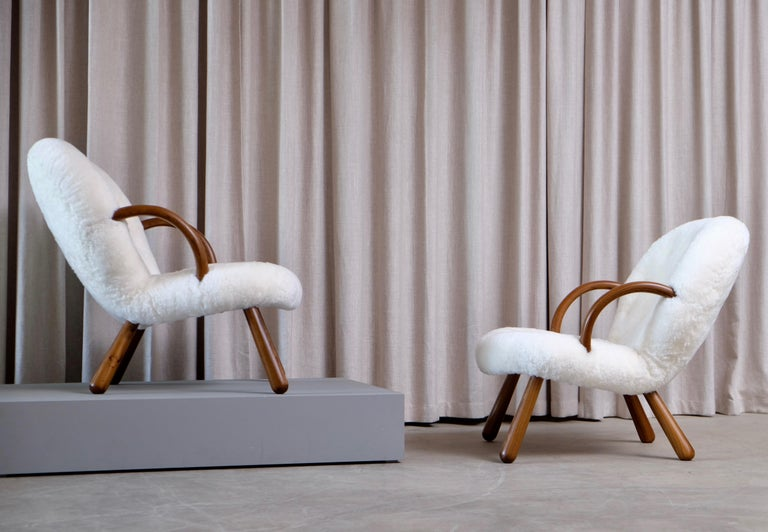 Philip Arctander Clam Chairs by Nordisk Stål & Møbel Central in Denmark, 1940s In Good Condition For Sale In Stockholm, SE