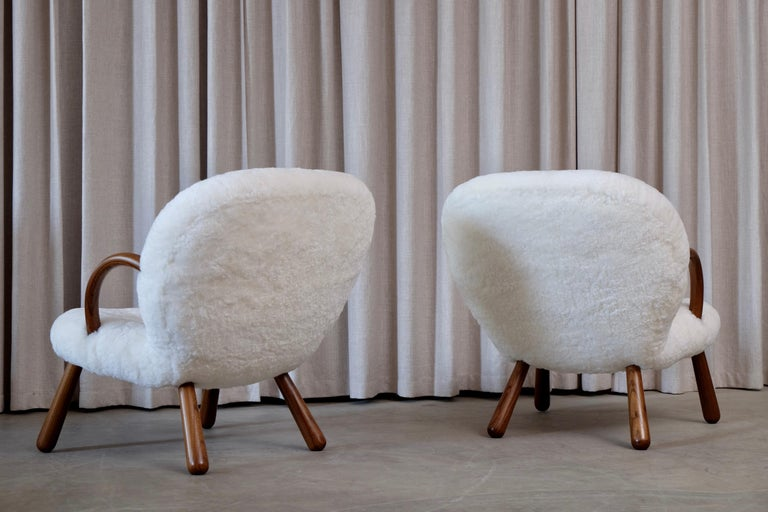 Philip Arctander Clam Chairs by Nordisk Stål & Møbel Central in Denmark, 1940s For Sale 2