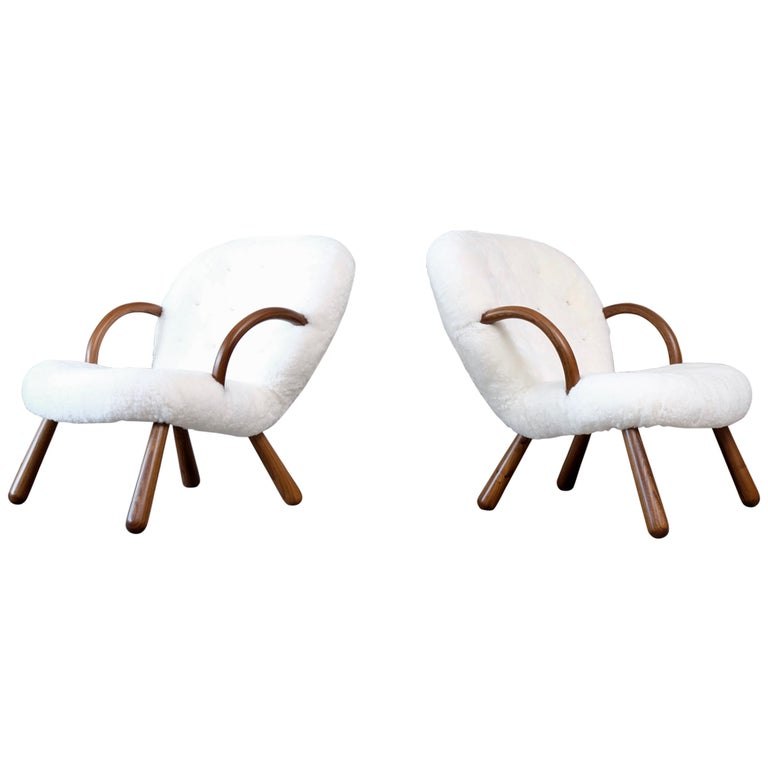Philip Arctander Clam Chairs by Nordisk Stål & Møbel Central in Denmark, 1940s For Sale