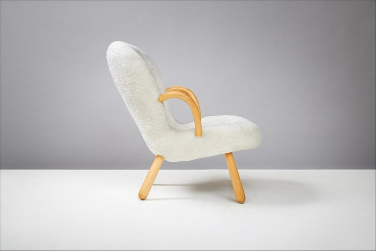 Sheepskin Philip Arctander Pair of Clam Chairs, 1950s For Sale