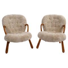 Philip Arctander Pair of 'Clam' Easy Chairs in Beige Sheepskin, 1944