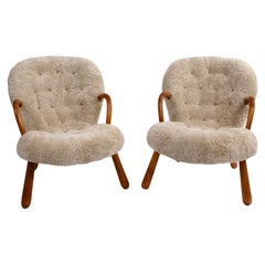 Philip Arctander Pair of 'Clam' Easy Chairs in Beige Sheepskin, 1944