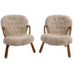 Philip Arctander Pair of 'Clam' Easy Chairs in Pale Grey Sheepskin, 1944