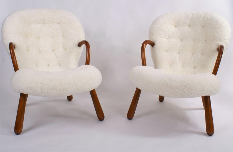 Philip Arctander Pair of 'Clam' Easy Chairs in Sheepskin, 1944 For Sale 4