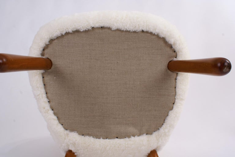 Philip Arctander Pair of 'Clam' Easy Chairs in Sheepskin, 1944 For Sale 5