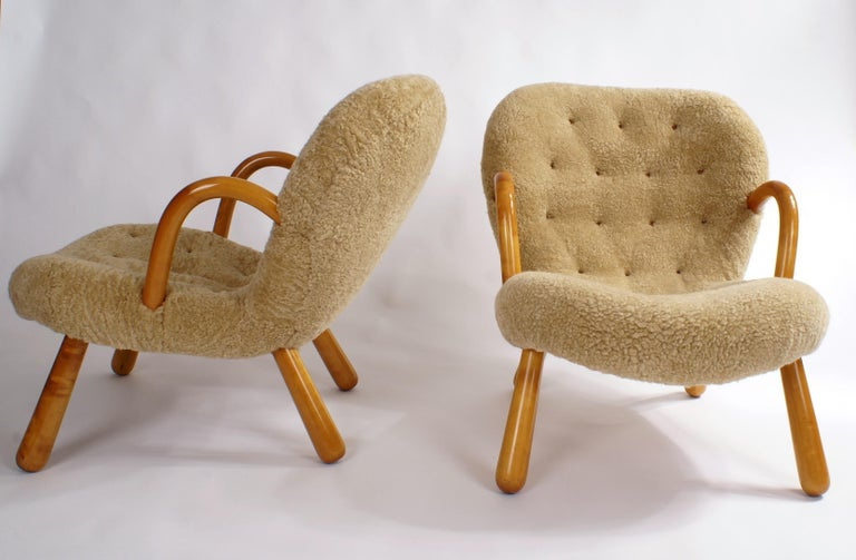 Scandinavian Modern Philip Arctander Pair of 'Clam' Easy Chairs in Sheepskin, 1944 For Sale