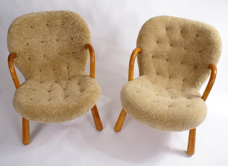 European Philip Arctander Pair of 'Clam' Easy Chairs in Sheepskin, 1944 For Sale