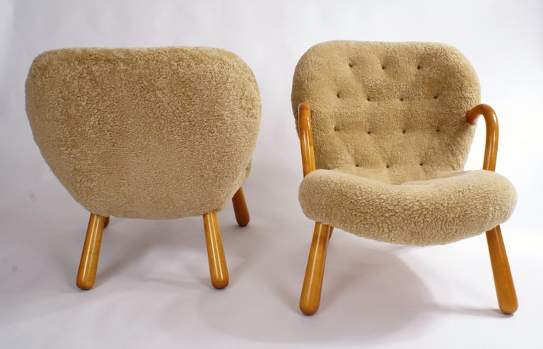 Mid-20th Century Philip Arctander Pair of 'Clam' Easy Chairs in Sheepskin, 1944 For Sale