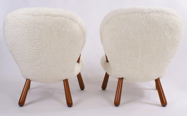 Philip Arctander Pair of 'Clam' Easy Chairs in Sheepskin, 1944 For Sale 3