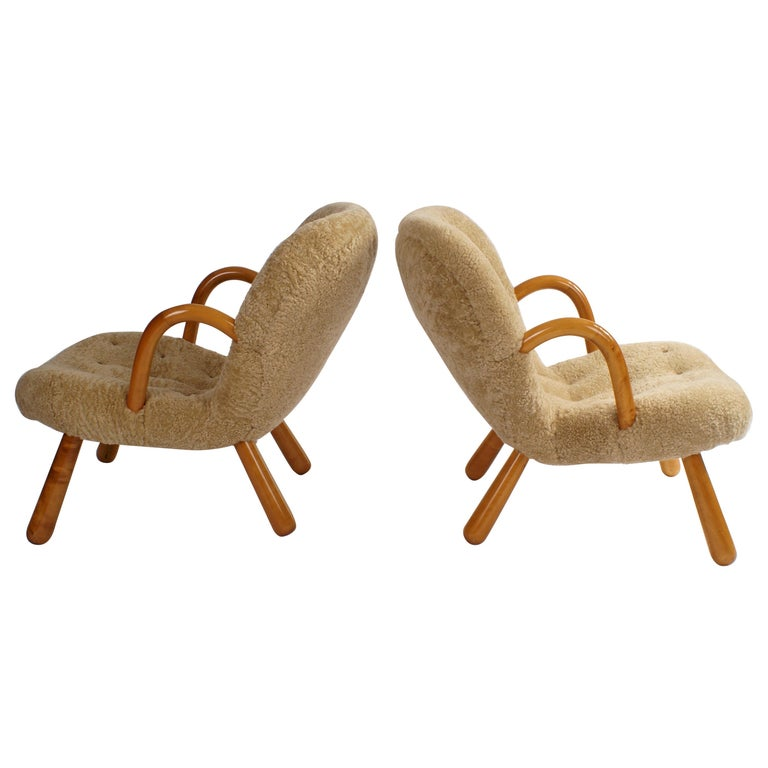 Philip Arctander Pair of 'Clam' Easy Chairs in Sheepskin, 1944 For Sale