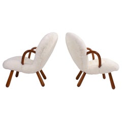 Philip Arctander Pair of 'Clam' Easy Chairs in White Sheepskin, 1944