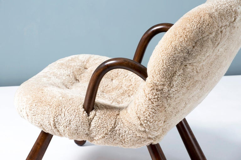 Philip Arctander Sheepskin Clam Chair, 1950s For Sale 4