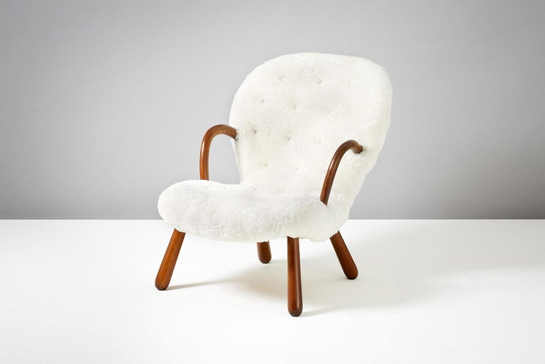 Scandinavian Modern Philip Arctander Sheepskin Clam Chair, 1950s