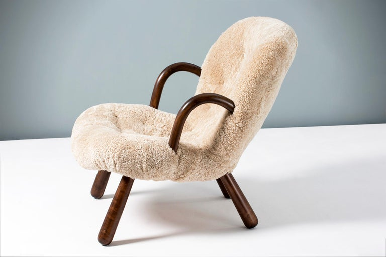 Danish Philip Arctander Sheepskin Clam Chair, 1950s For Sale