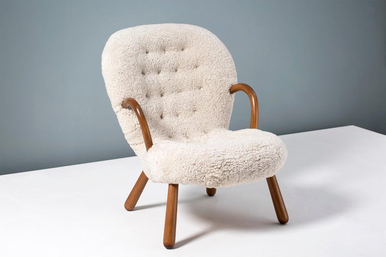 Norwegian Philip Arctander Sheepskin Clam Chair, 1950s For Sale