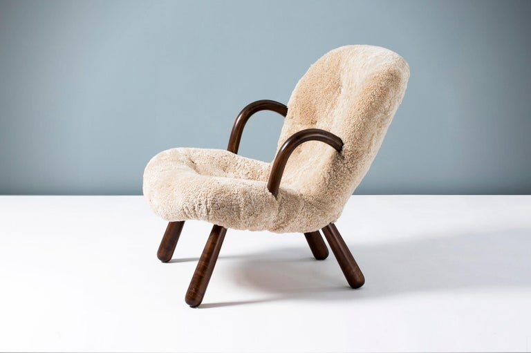Mid-20th Century Philip Arctander Sheepskin Clam Chair, 1950s For Sale