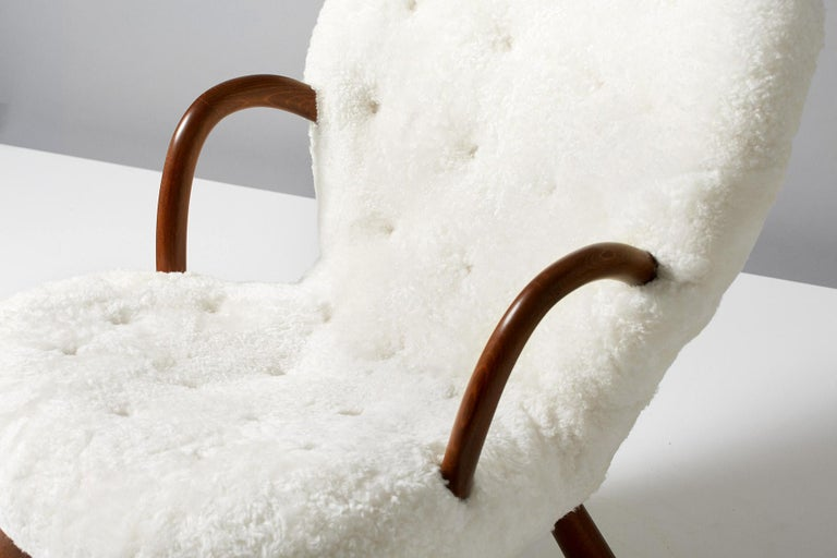 Beech Philip Arctander Sheepskin Clam Chair, 1950s