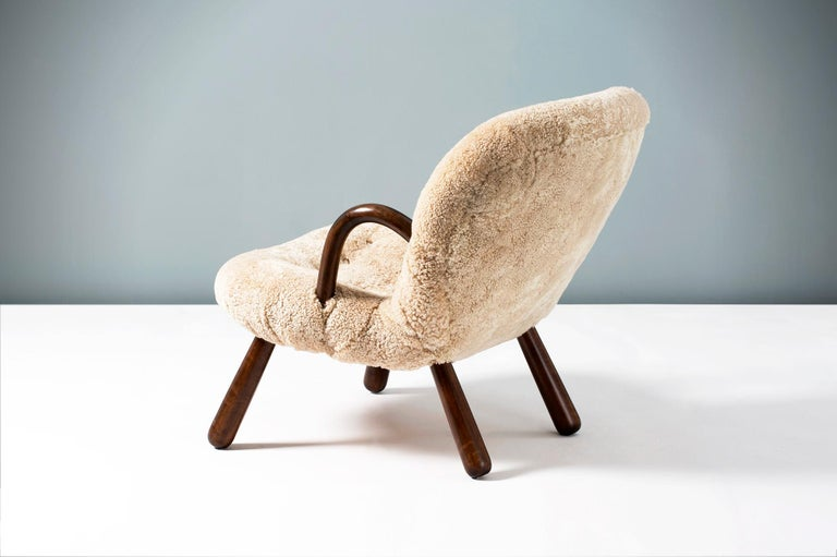 Philip Arctander Sheepskin Clam Chair, 1950s For Sale 2