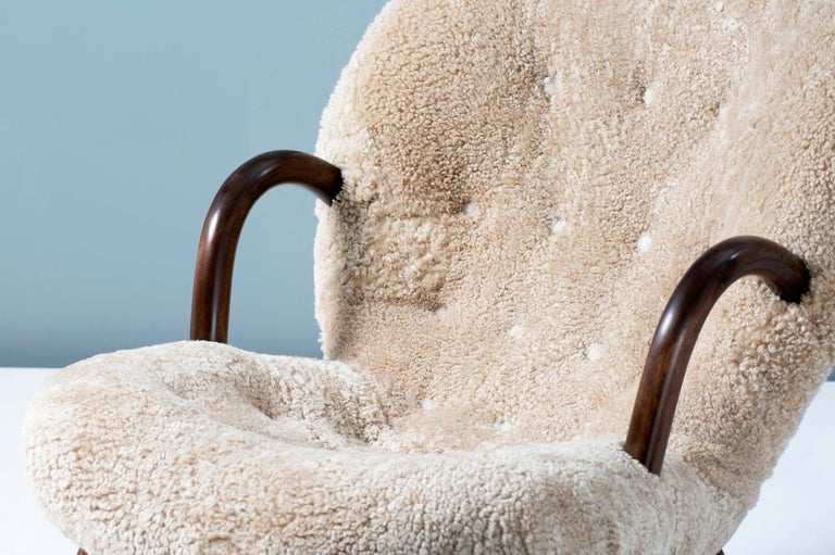 Philip Arctander Sheepskin Clam Chair, 1950s For Sale 3