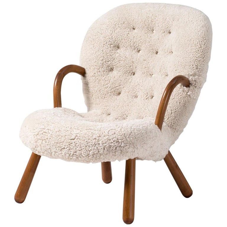 Philip Arctander Sheepskin Clam Chair, 1950s For Sale