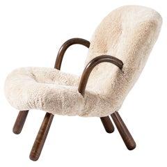 Philip Arctander Sheepskin Clam Chair, 1950s