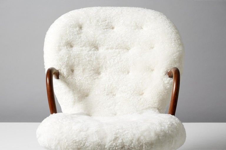 Scandinavian Modern Philip Arctander Sheepskin Clam Chairs, 1950s For Sale