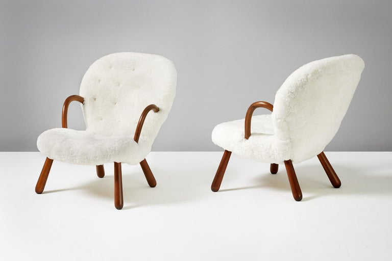 Philip Arctander Sheepskin Clam Chairs, 1950s In Excellent Condition For Sale In London, GB