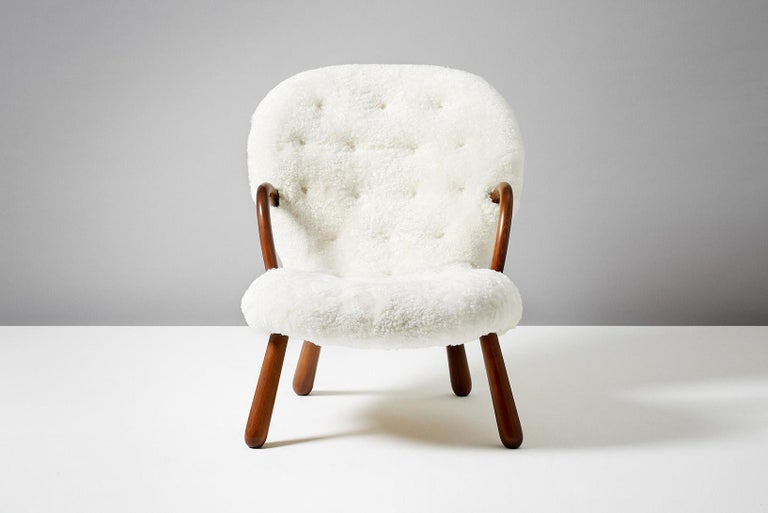 Mid-20th Century Philip Arctander Sheepskin Clam Chairs, 1950s For Sale
