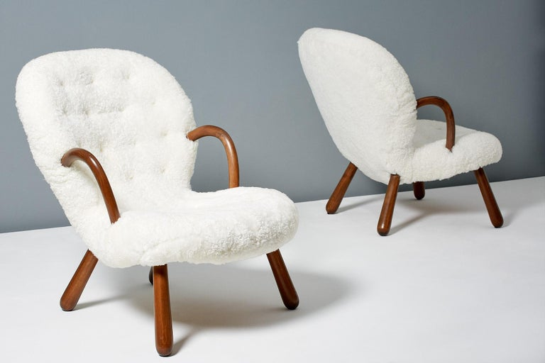 Philip Arctander Sheepskin Clam Chairs, 1950s For Sale 1