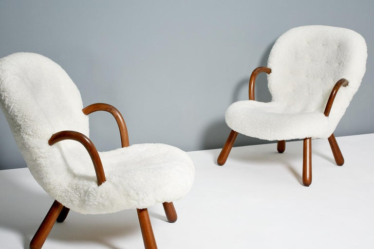 Philip Arctander Sheepskin Clam Chairs, 1950s For Sale 3