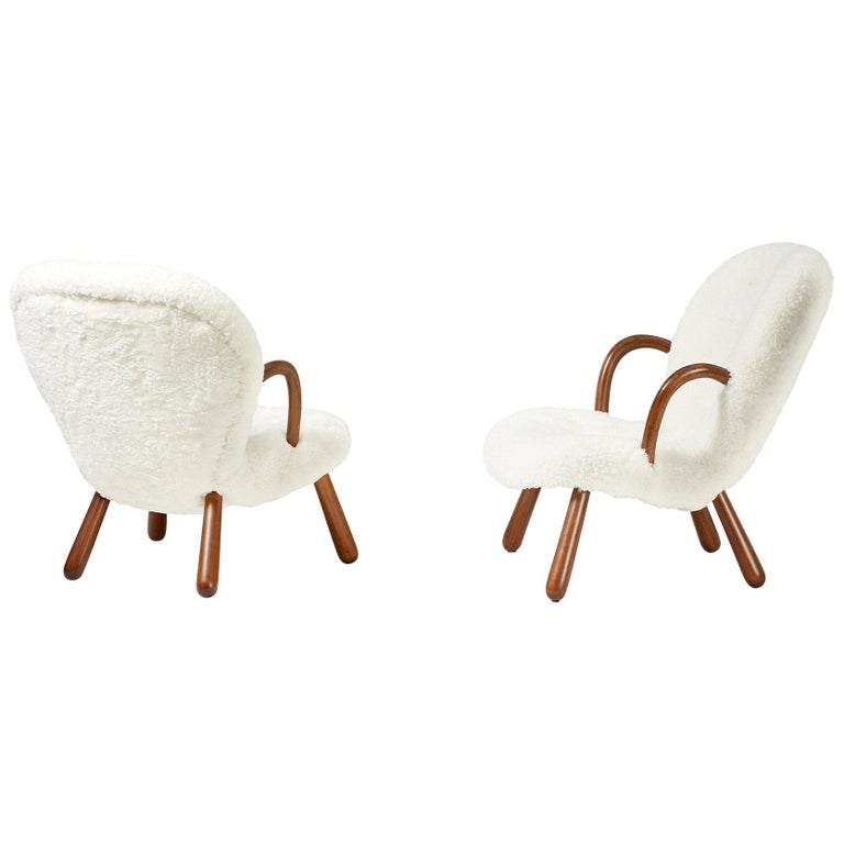 Philip Arctander Sheepskin Clam Chairs, 1950s For Sale