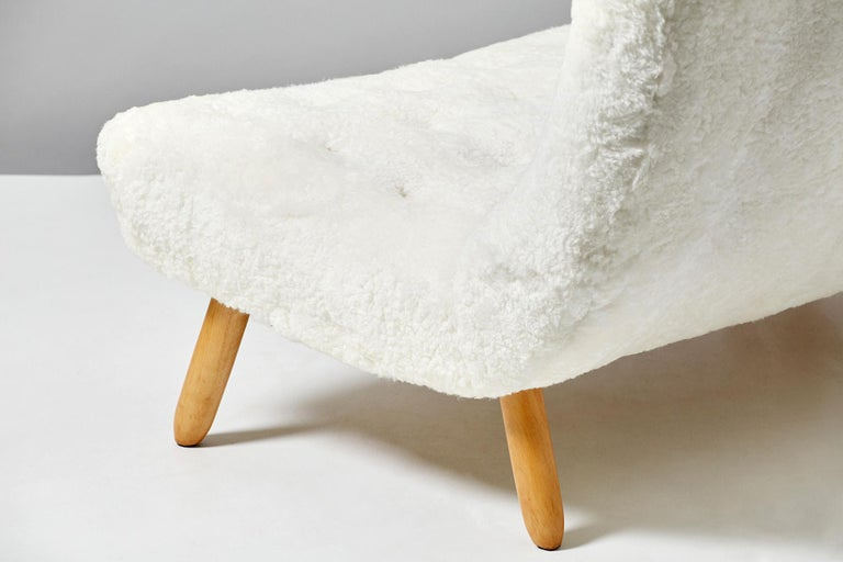 Norwegian Philip Arctander Sheepskin Clam Sofa, 1950s For Sale