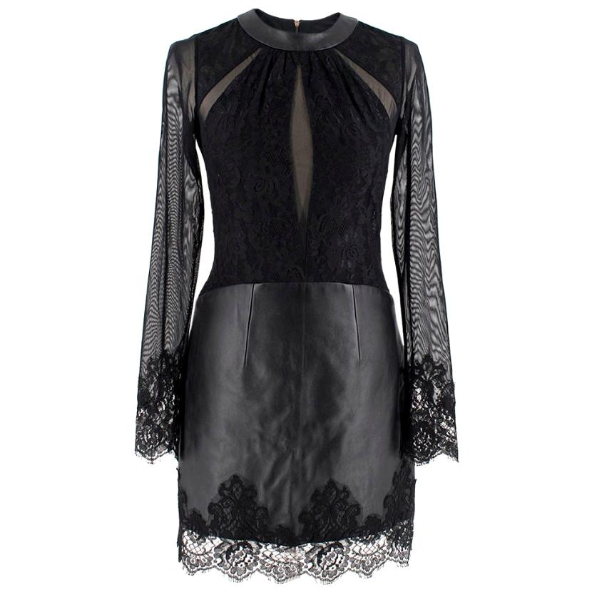 Philip Armstrong Black Leather and Lace Bodycon Dress - Size S