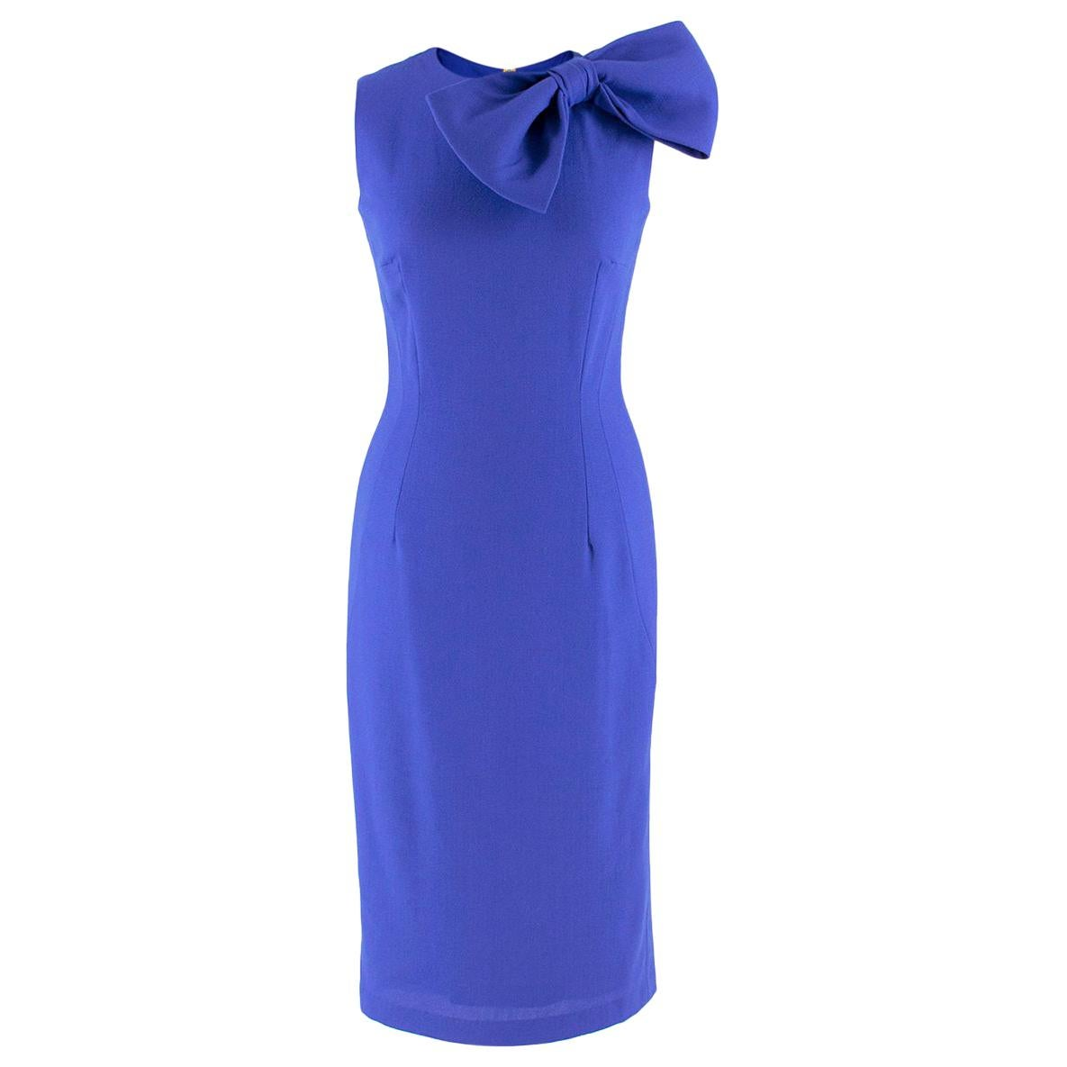 Philip Armstrong bow-detail blue wool-crepe dress US 4
