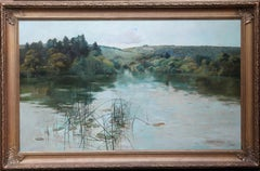 A Tranquil Lake Landscape - British Victorian 1891 art landscape oil painting