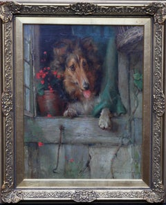 Collie Dog at Cottage Window - British Victorian art dog portrait oil painting