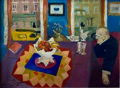 Interior with Man at Table American Modernism WPA Social Realism Modern Painting