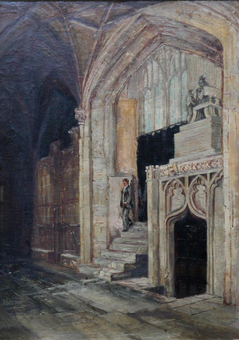 Church Interior Steps- British 19thC oil painting Amiens cathedral religious art For Sale 1