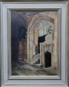 Church Interior Steps- British 19thC oil painting Amiens cathedral religious art