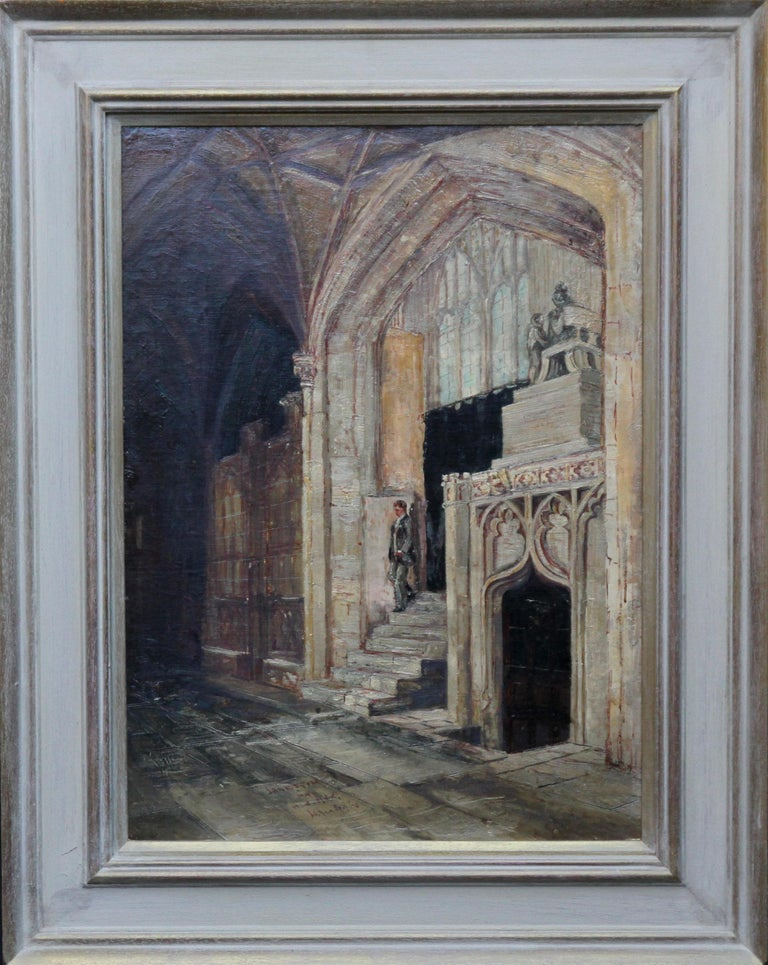 A stunning church interior by Philip F Walker who exhibited between 1883-1905.  The light pours in through the windows above as a man descends the steps. The church is believed to be Amiens cathedral.  Housed in a modern gallery frame, 28 inches by