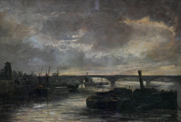 Thames at Battersea - British Impressionist art Victorian London oil painting  For Sale 1