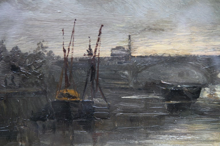 Thames at Battersea - British Impressionist art Victorian London oil painting  For Sale 3