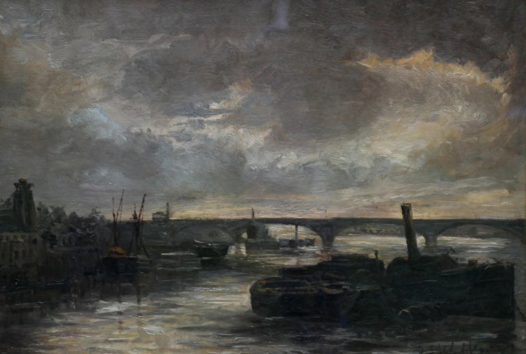Thames at Battersea - British Impressionist art Victorian London oil painting  For Sale 5