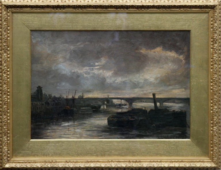 Thames at Battersea - British Impressionist art Victorian London oil painting  For Sale 7