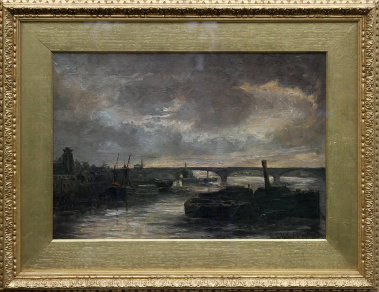 A stunning view of the Thames at Battersea which Whistler would have been proud of. A superb 1887 impressionist view of London with the river Thames and the barges and boats with beautiful brushwork and a super evening glow. The bridge and the the
